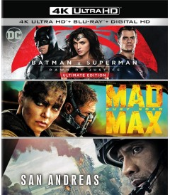 4K UHD - BATMAN V SUPERMAN / MAD MAX FURY ROAD / SAN ANDREAS (PACK 3 PELÍCULAS)